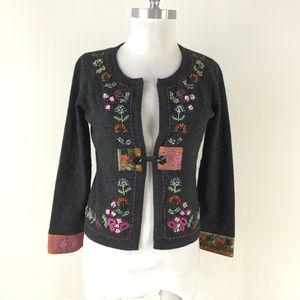 J Jill S P Gray Wool Cardigan sweater boho Embroid